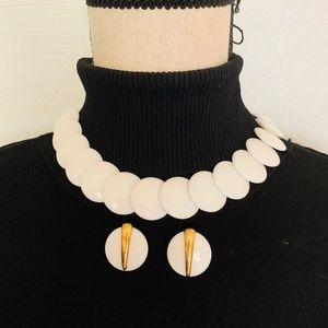 intage Crown Trifari Enamel Necklace and Earrings
